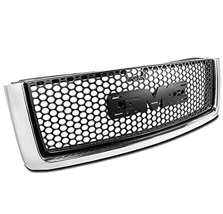 ZMAUTOPARTS GMC Sierra 15 Denali Round Mesh ABS Upper Hood Grille Grill Black//Chrome