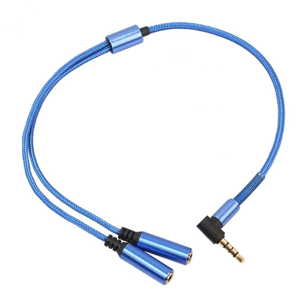 Braceus 3.5mm Audio Stereo Y Splitter Cable Male to 2 Female Jack Headphone Adapter (Blue)
