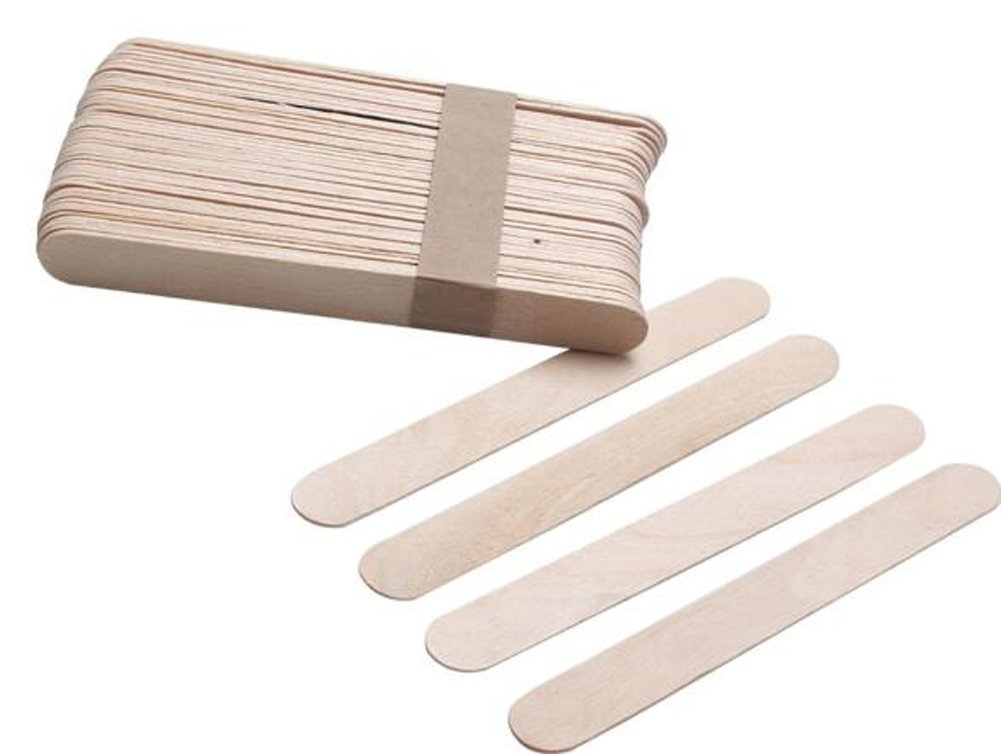 100PCS 6 Natural Wooden Spatulas Wax Applicator Sticks for Hair Eyebrow & Face Removal erioctry