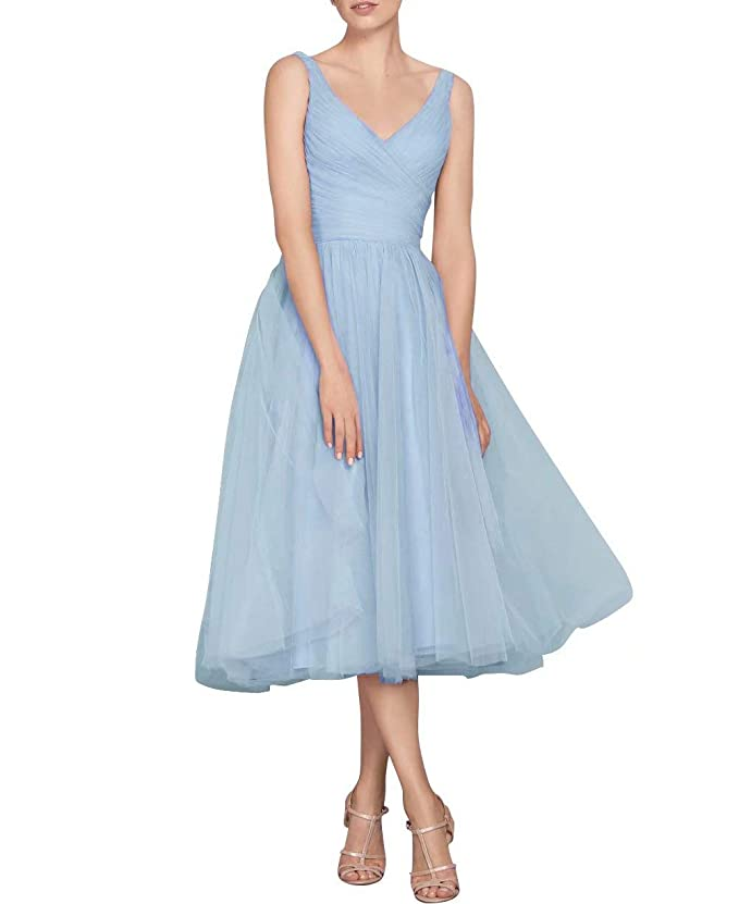 Vintage 50s Dresses: Best 1950s Dress Styles NaXY Vintage Tulle V Neck Tea Length Bridesmaid Dress Long Evening Formal Tulle Women Dresses 2018 $51.20 AT vintagedancer.com