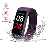 New Fitness Tracker, Heart Rate Monitor, IP67 Waterproof Smart Bracelet Camera Remote Shoot, Activity Fitness Wristband R11 Pedometer Bluetooth Android iOS (R11-Purple)
