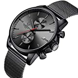 Men's Watch Fashion Sport Quartz Analog Mesh Stainless Steel Waterproof Chronograph Watches, Auto Date in Red Hands, Color: Black