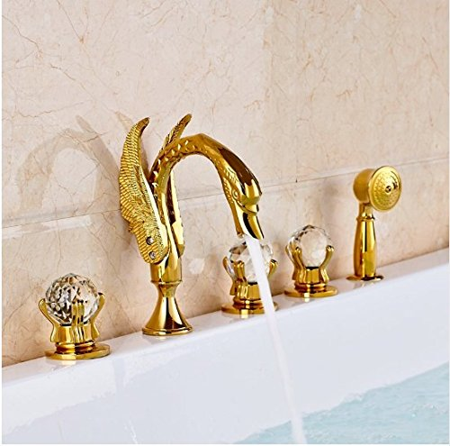 Gowe Luxury Gold Polished Bathroom Waterfall Shower Tub Sink Faucet Deck Mounted 3