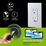 GE Z-Wave Plus Wireless Smart Lighting Control Duplex Receptacle Outlet, On/Off, In-Wall, White, Tamper Resistant, 1 Always On / 1 Controllable Outlet, Works with Amazon Alexa (Hub Required), 14288