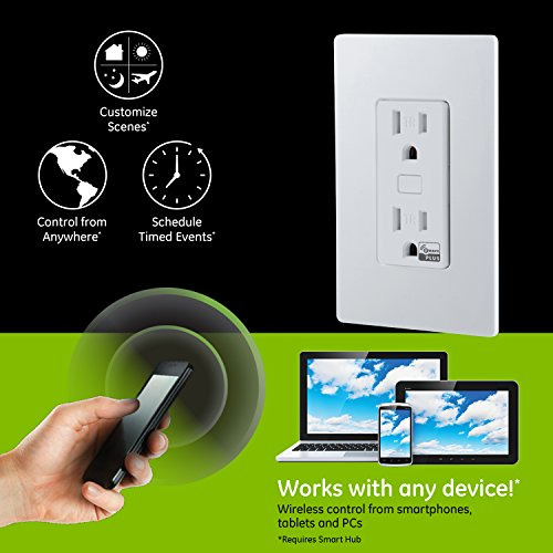 GE Z-Wave Plus Smart Lighting and Appliance Control Receptacle Outlet, On/Off, Tamper Resistant, 1 Always On/1 Controllable Outlet, Zwave Hub Required- Works with SmartThings Wink and Alexa, 14288 by GE (Image #1)