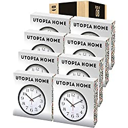 Utopia Home Large Decorative Black Wall Clock - 12-Inch (Pack of 8)