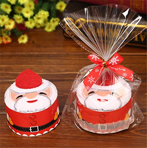 Eyiou Christmas Towel Gift Cake Modelling Cotton Towel Washcloth for Xmas Decoration Christmas Birthday Gift (Santa Claus)