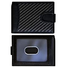 Slim Bifold Mens Wallet with RFID Blocking & Money Clip - Leather & Carbon Fiber