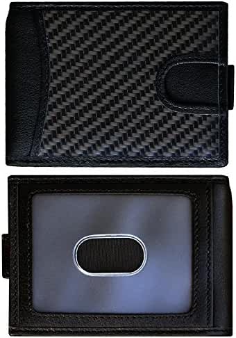 Leather & Carbon Fiber Bifold Wallet for Men with RFID Blocking & Money Clip - Slim Minimalist Front Pocket Small Mens Wallets - Premium Full Grain Leather