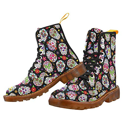 Day of The Dead Sugar Skull Unique Martin Men's Boots Lace Up Canvas Combat Red