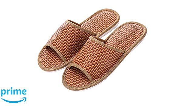 Crazy Lady Women's Men's House Bamboo Straw Slippers Open