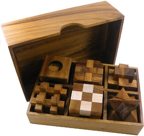 6 Wooden Puzzle Gift Set In A Wood Box - 3D Puzzles for Adults and Teens ()