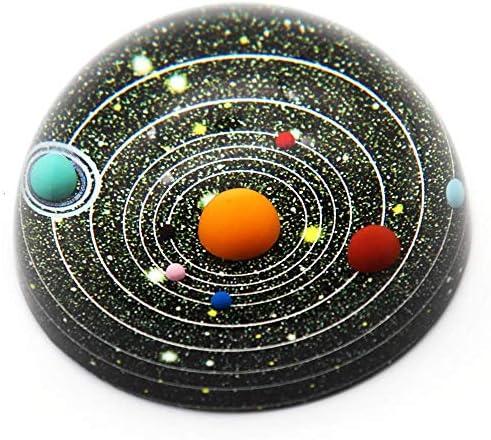 [해외]크리스탈 태양계 태양계 반원형 반구 촛대 페이퍼 웨이트 위 예쁜 인형 장식 선물 생일 선물 직경 80mm / Crystal Solar System Solar System Semicircular Hemisphere Crystal Paper Weight Decorative Figurine Supplant Gift Birthday Gift Diame...