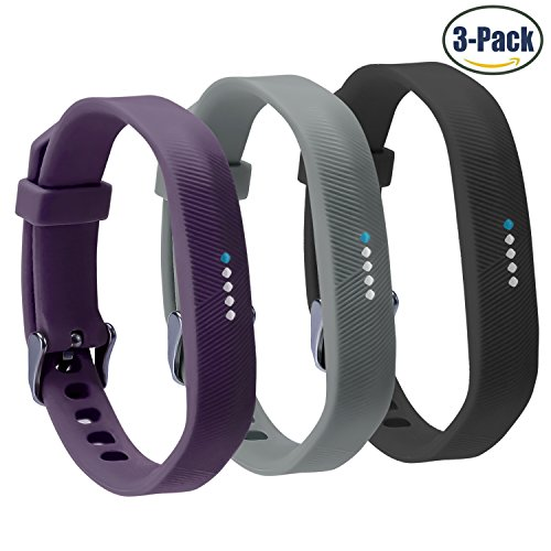 Buckle Khaki (Fitbit Flex 2 Bands,Vetoo Replacement Band with Stainless Steel Buckle and Fastener for Fitbit Flex 2,Adjustable Accessories Bracelet & Strap for Small and Large Wrists,3 Packs)