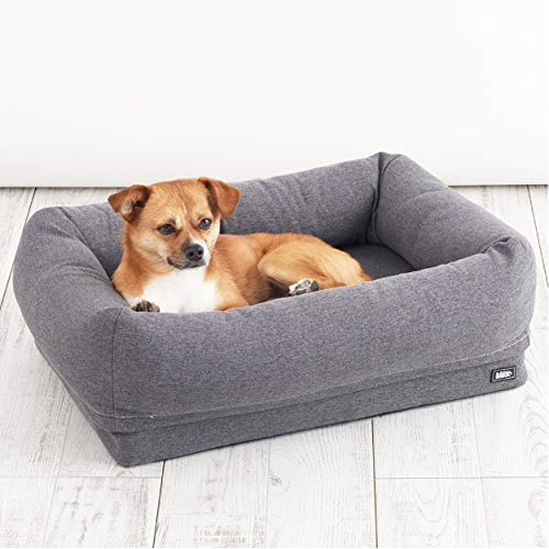 BarkBox Memory Foam Dog Cuddler Bed | Plush Orthopedic Joint Relief 2-1 Crate Lounger or Donut Pillow Bed, Machine Washable + Removable Cover; Waterproof Lining, Includes Squeaker Toy | Small | Grey