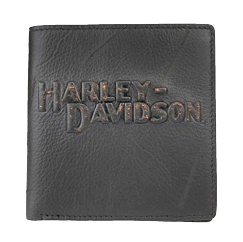 Harley Davidson Bi Fold Vintage Leather VM8023L Black