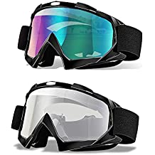 Ski Goggles, Pack of 2, CarBoss Motorcycle Snowboard Goggles 100% UV 400 Protection, Anti-Glare Anti-Scratch Dustproof Windproof Lenses, Great Snow Skiing Cycling Riding Outdoor Sports Eyewear for Men