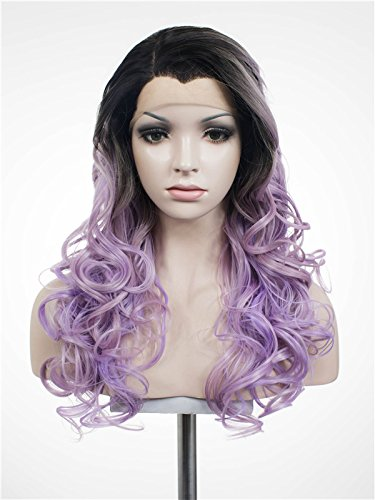 Imstyle® mujeres largo ondulado pelucas Luz Pastel Violeta Cosplay sintético Lace Front Peluca