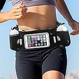 iRainy Neoprene Water-Proof Hydration Running Belt W Touchscreen Zipper Pockets Fitness Workout Belt with Two 12oz BPA-Free Leak-Proof Water Bottles Belt Fits All Smartphones