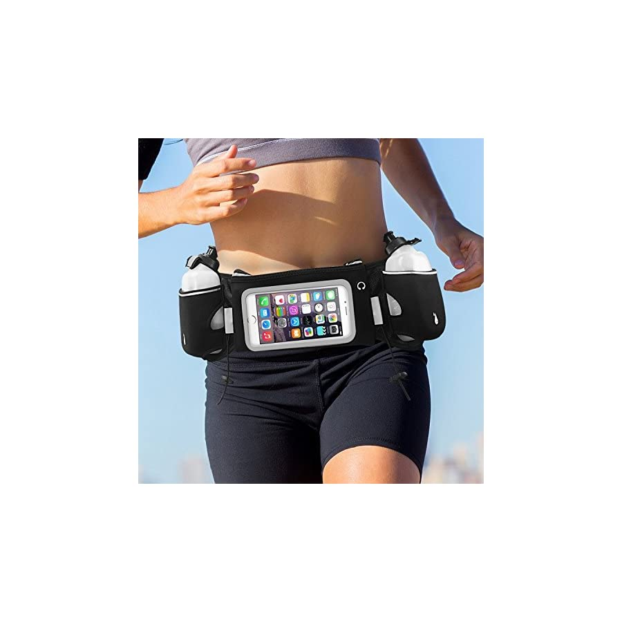 iRainy Neoprene Water Proof Hydration Running Belt W Touchscreen Zipper Pockets Fitness Workout Belt with Two 12oz BPA Free Leak Proof Water Bottles Belt Fits All Smartphones