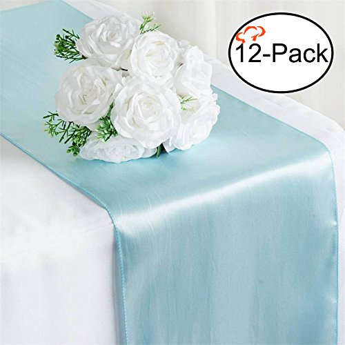 Tiger Chef 12-Pack Blue, 12 x 108 inches Long Satin Table Runner for Wedding, Table Runners fit Rectange and Round Table Decorations for Birthday Parties, Banquets, Graduations, Engagements -