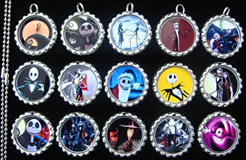 15 Nightmare Before Christmas SILVER Bottle Cap Pendant Necklaces Set 2