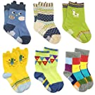 Wrapables Peek A Boo Animal Non-Skid Toddler Socks Assorted (Set of 6), Large