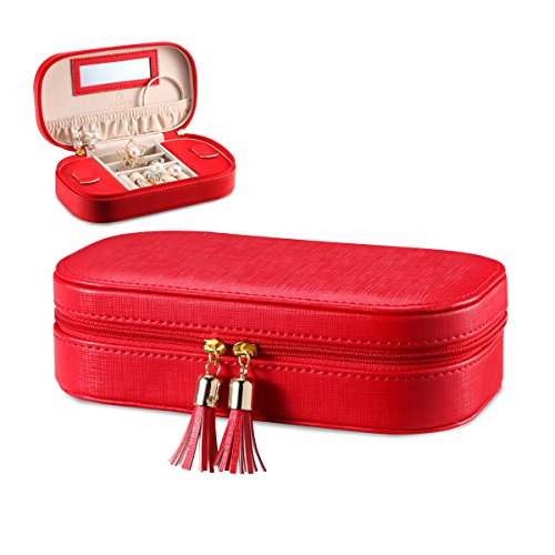 Vlando Small Faux Leather Tassels Travel Jewelry Box Organizer Display Storage Case for Rings Earrings Necklace Take-out Handbags (Red)