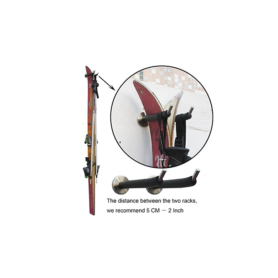 YYST Ski Storage Rack Ski Rough Wall Mount Ski Storage Holder (one pair) Stainless Steel with foam protector. You can Install it Vertically or Horizontally