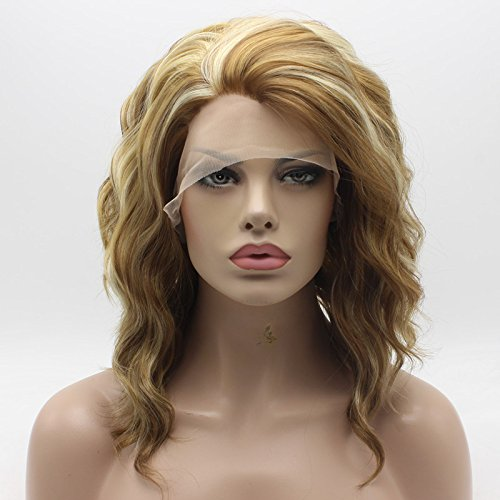 Lace Front Synthetic Wig Medium Length Curly 14inch Honey Blonde and Light Blonde Mix Wig Stylish Wig ()