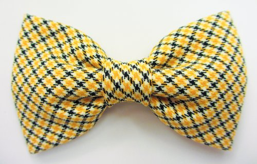 Yellow and Black Border Tartan Cutting on Bias – Dog or Cat Handcrafted Slide-On Bow Tie Collar Accessory (Collar Not Included), My Pet Supplies