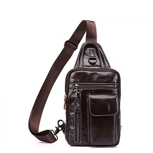 Section Chest Leather Bag color Vertical Crossbody Aihifly Genuine Men Leisure Coffee Coffee Shoulder xU8HwWnqRB