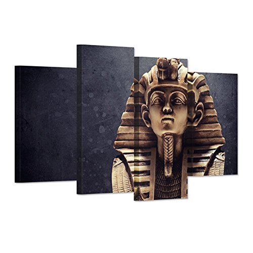 Egypt Art Sculpture (Hello Artwork Canvas Wall Art Print Modern Portrait Ancient Egyptian Pharaoh King Vintage Ancient Egypt The Figure Picture Painting Print On Canvas Ready To Hang)