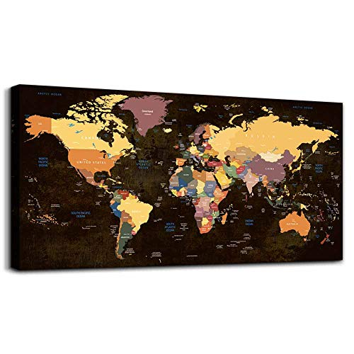 - Canvas Wall Art for Office Wall Decor for Living Room,Large Size Black and White Vintage World Map Poster Printed ,Color Map Prints Printing Watercolor Framed Hotel Home Decoration Bedroom Artwork