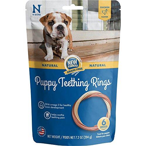 N-Bone 113062 Teething Ring Grain Free Chicken Flavor Chew Treat, (Chew Chicken Flavor)