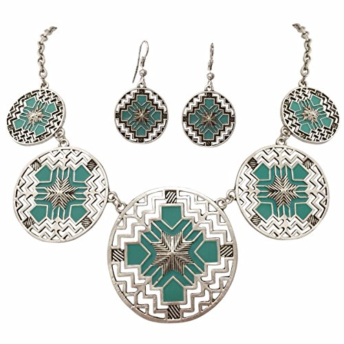 (Gypsy Jewels Aztec 5 Disk Cutout Southwestern Look Silver Tone Boutique Style Necklace Earrings Set (Blue))