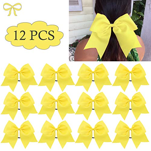 8 Large Cheer Bows Ponytail Holder Girls Elastic Hair Ties Yellow Bulk Accessories for Teen Softball Competition Cheerleaders