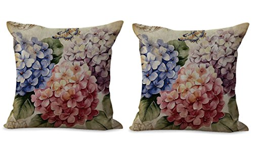 Set of 2 hydrangea vintage flower cushion cover pillow cover (Pillows Throw Hydrangea)
