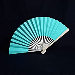 "Quasimoon 9"" Turquoise Paper Hand Fans for Weddings, Premium Paper Stock (10 Pack) by PaperLanternStore"