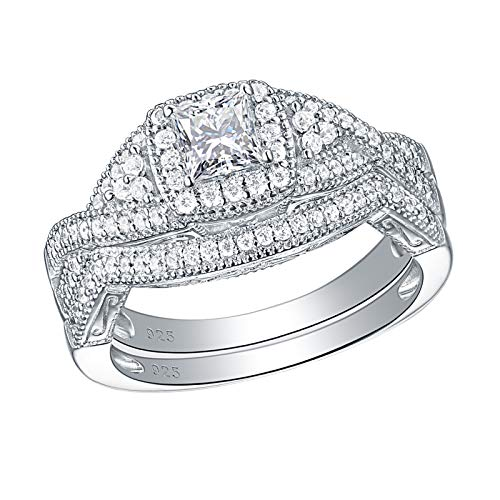 Princess Cut Cross Prong Setting - SHELOVES Sterling Silver Princess Cut Cubic Zirconia Cross Shank Halo Engagement Ring Bridal Set 7