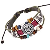 Celokiy Unique Totem of the Sun Handmade Braided Adjustable Leather Bracelet