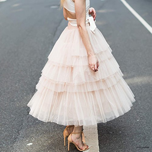 d913da05a Chicwish Women's Nude Pink Tiered Layered Mesh Ballet Prom Party Tulle Tutu  A-line Midi