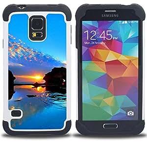 - Sunset Beautiful Nature 98/ H??brido 3in1 Deluxe Impreso duro Soft Alto Impacto caja de la armadura Defender - SHIMIN CAO - For Samsung Galaxy S5 I9600 G9009 G9008V