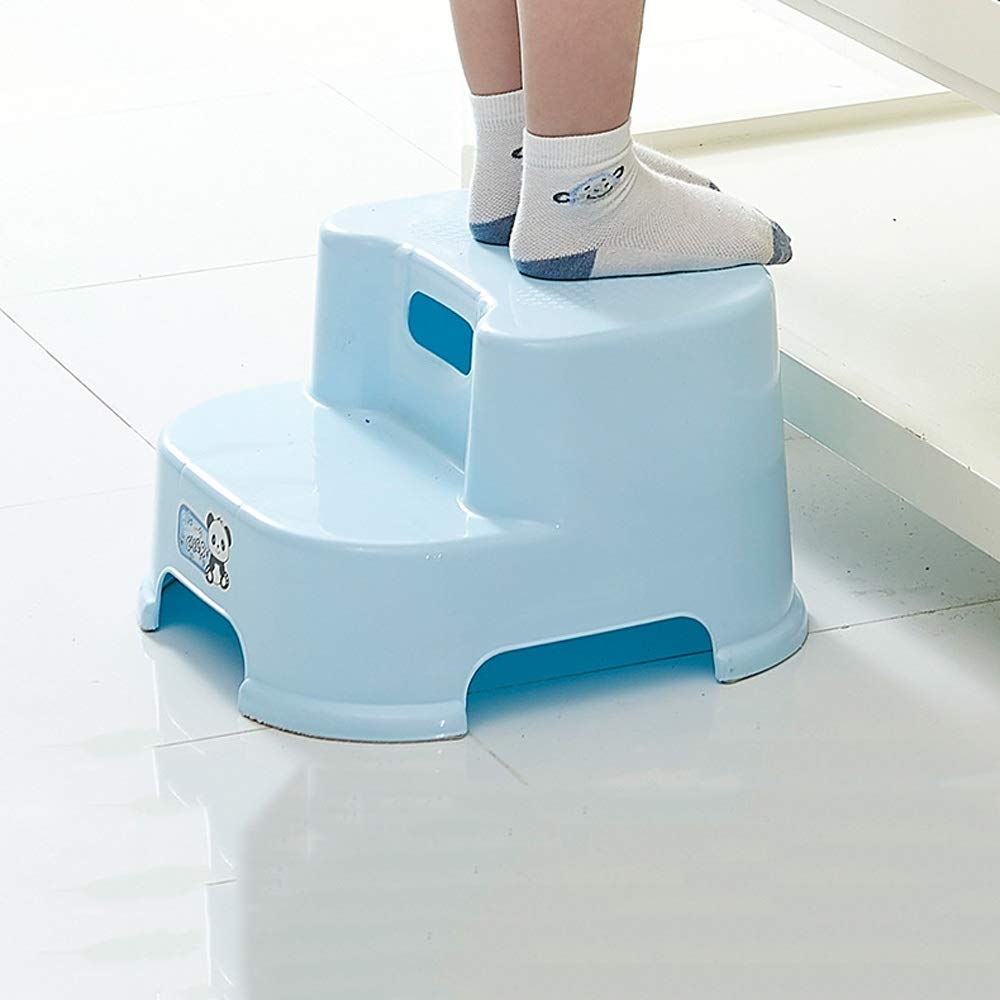 Amyannie Thick Plastic Children's Stools Bathroom Double Step Footstool Baby Stepping Foot Small Bench Non-Slip Plastic Stool (Color : Blue)
