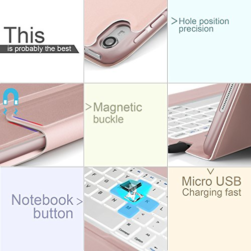 IVSO Apple iPad pro 10.5 inch Stand Case with Wireless Keyboard, Ultra-Thin Stand Cover Case for Apple iPad pro 10.5 inch 2017 Tablet (Rose Gold) by IVSO (Image #5)