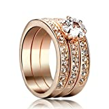 Yoursfs Jewelry 3Pcs Halo Rings 18k Rose Gold Plated Pave Mirco Austrian Crystal Trinity Rhinestone Wedding Band Ring Engagement Ring Sets