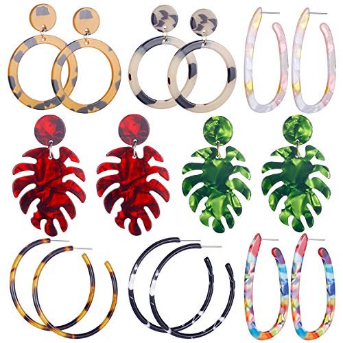 AIDSOTOU 8 Pairs Mottled Acrylic Earrings for Women Girl Resin Acetate Statement Tortoise Hoop Earrings red and Green Leaf Drop Dangle Earrings Fashion Jewelry (color1)
