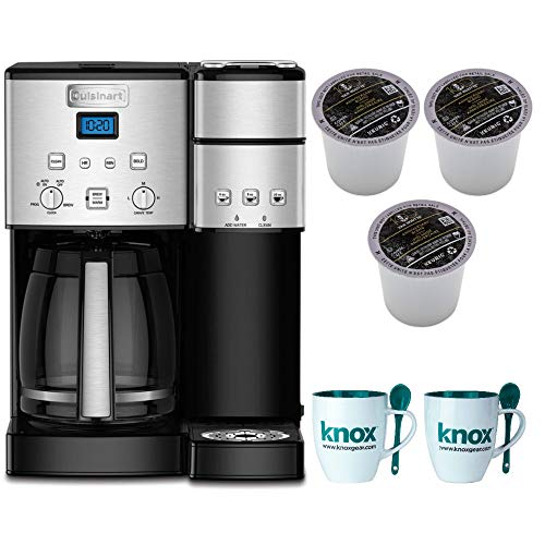 Cuisinart SS-15 12-Cup Coffee Maker and Single-Serve Brewer, Stainless Steel Includes 9 Van Houtte K-Cups and 2 Mugs Bundle (Renewed) ()