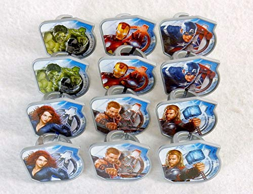 Captain America and The Avengers Super Hero Rings (24 pc) Cupcake Rings. Featuring Thor, Iron Man, The Incredible Hulk, Captain America, Hawkeye, and Black -
