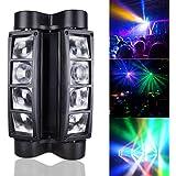BETOPPER Spider Moving Head Light RGBW, 8 x 3W LED Lighting DMX 512 Dual Sweeper Pulse Strobe Effect for DJ Live Concert Lighting